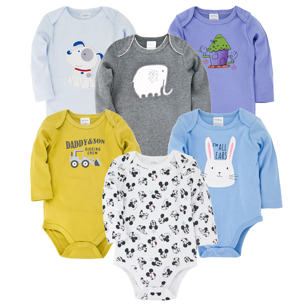 6pcs Baby Bodysuit Cotton Cartoon Print New Born Baby Girl Clothes 0-12M O-Neck Infant Jumpsuit Roupas Body Bebes Baby Clothing
