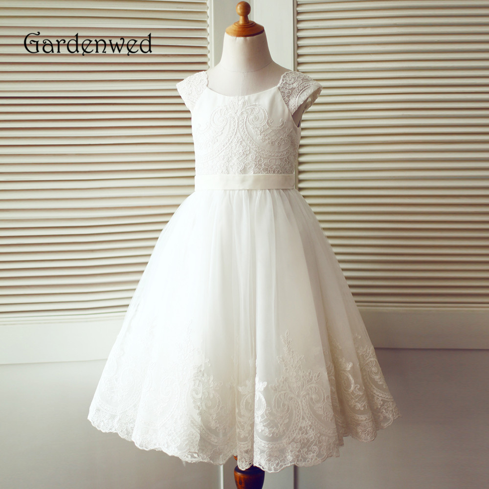Gardenwed Lace Cap Sleeves Flower Girl Dress 2019 Exquisite Appliques A Line Hem Little Girl Baby Tulle Dress Children Wedding