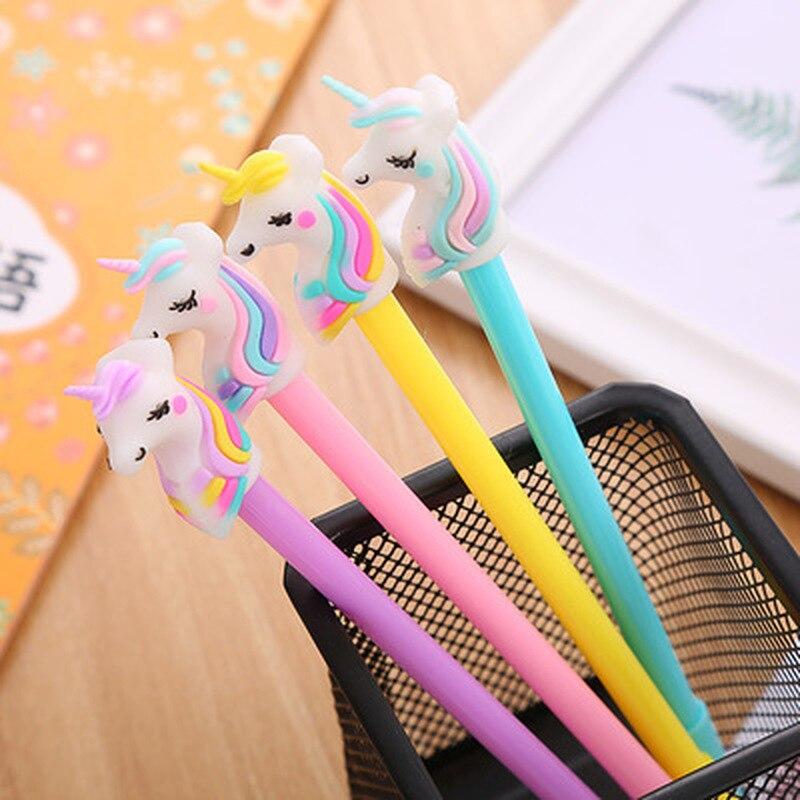 1pcs  Unicorn Gel Pen 0.5mm Cute Pens Novelty Student  Kawaii Pen Cute Stationery Black Writing Pens  Kawaii School Supplies
