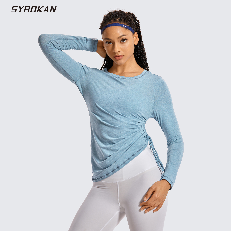 SYROKAN Women's Pima Cotton Workout Shirts Long-Sleeve T-Shirt Crewneck Athletic Top Gyms
