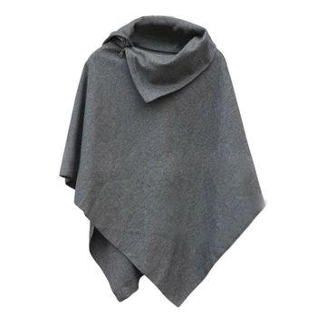 4 Colors Women Coat Poncho Autumn Winter Casual Overcoat Zipper Loose Pullover Cloak Sweater Cape Outwear hc 6