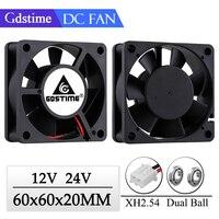 2 قطعة Gdstime 60x60x20 مللي متر 6020 12V 24V المزدوج الكرة 3D طابعة برودة مروحة 60 مللي متر x 20 مللي متر فرش آلة معدات العاصمة المحرك التبريد مروحة