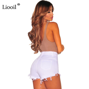 Liooil Black White Red Denim Shorts 2020 Cotton High Waisted Button Pockets Skinny Women Shorts Summer Sexy Jean Shorts 4