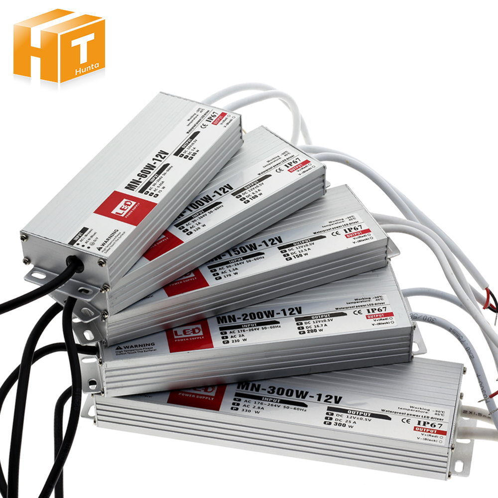 LED Driver DC12V DC24V IP67 Waterproof Lighting Transformers For Outdoor Lighs Power Supply 10W 20W 30W 45W 60W 100W 150W 200W