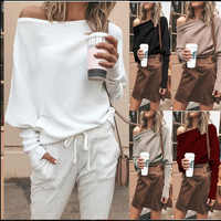 Women Sweater Autumn Fashion Casual Loose Solid Pullovers One Shoulder knitted Sweater Ladies Slash Neck Sexy Tops Plus Size