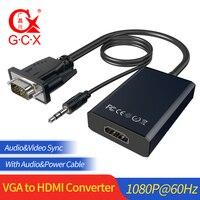 GCX преобразователь из VGA в HDMI с аудио 1080P VGA2HDMI видео адаптер для ПК в HD ТВ проектор VGA штекер в HDMI Женский ТВ адаптер