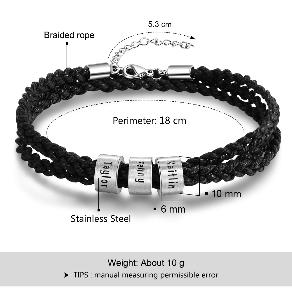 Personalized Braid Rope Bracelet For Men Engraved Custom Names Beads Stainless Steel Wrap Bracelets & Bangles Gifts for Him
