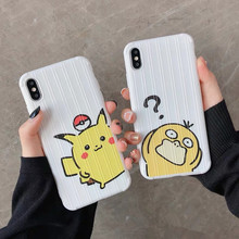 Japanese Cartoon psyduck pokemons pikachue cute Phone case silicone cover for coque iPhone 7 Plus 6 8 6s X XR xs max