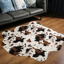 Cute Cow Print Rugs Western Cowboy Decor Faux Cow Hide Rug for Kids Room 140x160cm faux turquoise cow engraved jewelry set