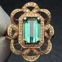 Tourmaline Ring 2.5ct Pure 18 K Gold Jewelry Natural Bluish Green Gemstones Diamonds Female's Rings for Women Fine Ring