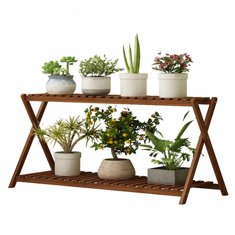 Solid Wood Quality Multi-storey Balcony Room Domestic Two Layer Flowerpot Frame A Living Room Landing Type
