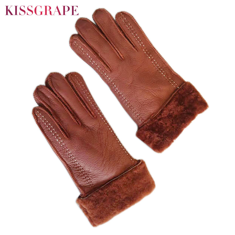 Super Warm Winter Gloves For Women Outdoor Cycling Sheep Leather Gloves Ladies Sheepskin Genuine Fur Guantes Mitten Full Fingers