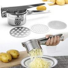 Máscara de batata, utensílios de cozinha de aço inoxidável, máquina de cortar legumes e frutas, prensa de alho
