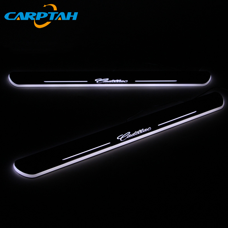 CARPTAH Trim Pedal Car Exterior Parts LED Door Sill Scuff Plate Pathway Dynamic Streamer light For Cadillac CTS 2011 - 2015 2016