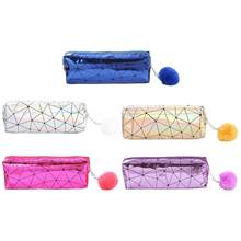 Holographic Iridescent Laser Pencil Case for Girls Cute Pencil Box Hairball Pencil Bag School Supplies Stationery(China)