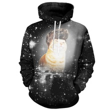 Cloudstyle 2019 Funny Mens Hoodies 3D Full Printed Hansome Cat Hooded Pullovers Streetwear AS 5XL