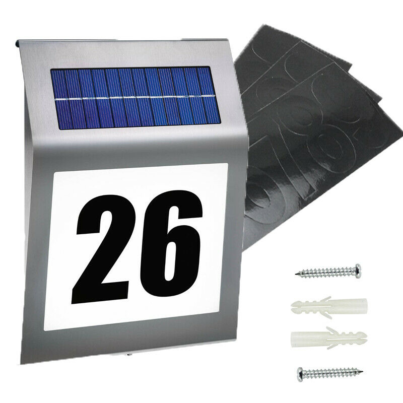 2 LED Solar House Number Lamp Lighting House Number Light Illuminated Glass Stainless Steel IP65 Wall-mounted Solar Lights Lamps