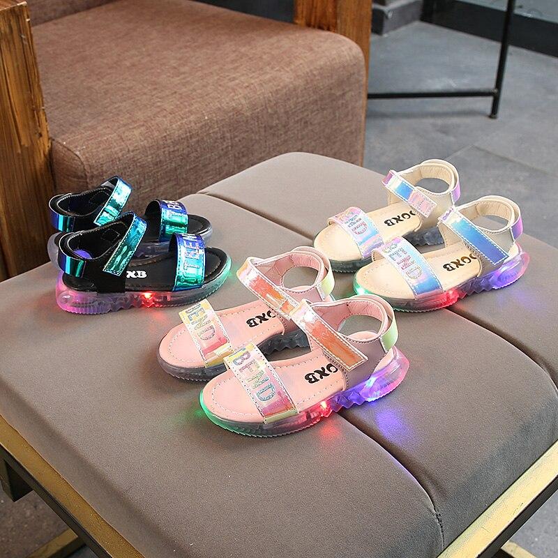 New Toddler Baby Girls Sport Summer Light-up Sandals LED Luminous Flat Shoe Sneakers
