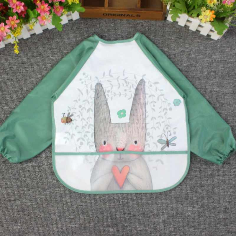 1PC 만화 아기 Bibs 앞치마 조정 가능한 Burp Cloths 긴 소매로 먹이기 귀여운 동물 유아 어린이 베이비 액세서리