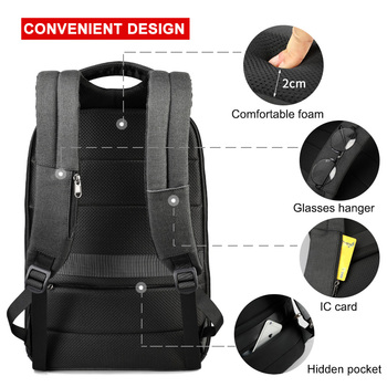No Key Anti theft TSA Lock Fashion Men Backpacks 15.6inch USB   4