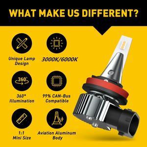Image 3 - AUXITO 2 uds H8 luces antiniebla para coches H9 H11 3000K 6500K llevó la lámpara de niebla para Audi A3 A4 B6 B8 A6 C6 80 B5 B7 A5 Q5 Q7 TT 8P 100 8L 12V 12V