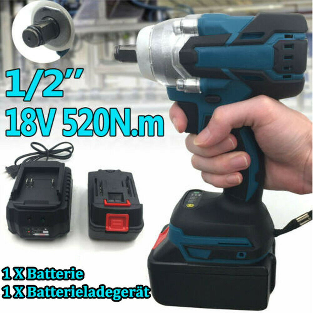18V Cordless Impact Wrench Brushless Electric Wrench 520Nm Torque Rechargeable For Makita Battery+Socket Set+ 1500mAh Battery