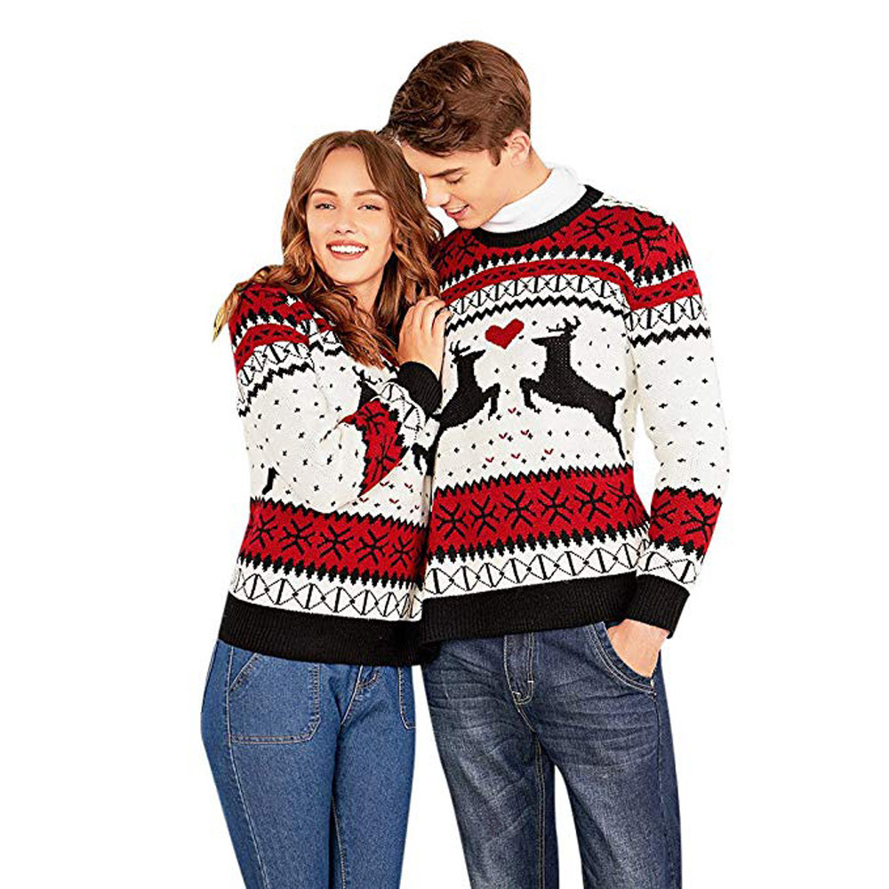 2019 New Men Women Sweater Couples Siamese Christmas Clothes Knitted Long Sleeves Blouse Tops Winter Unisex Full Tops Pullover