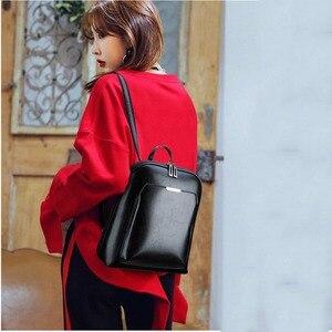 Image 2 - 3 in 1 Vintage Women Backpack High Quality Youth Leather Backpacks for Teenage Girls Female School Shoulder Bag Bagpack mochila