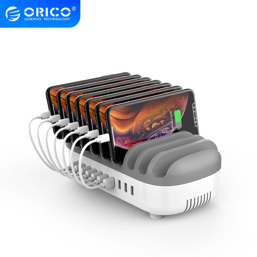 ORICO USB-laddare Station 10 USB-port med USB-kabel för Office Home Public Mobile Phone Tablet Kindle Charger