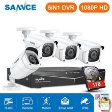 SANNCE 4CH 1080P HD טלוויזיה במעגל סגור מערכת 1080N HDMI וידאו מקליט DVR ערכת 2MP אבטחת CCTV מצלמות IR חיצוני מעקבים ערכת לבן