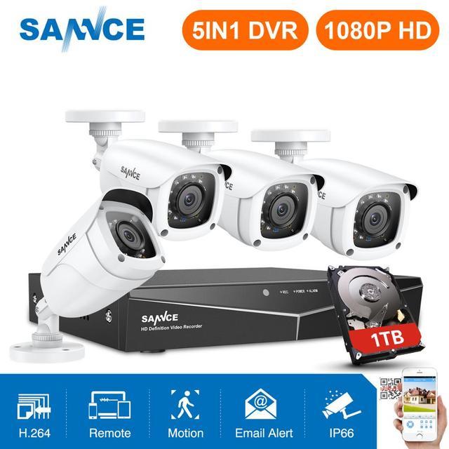 SANNCE 4CH 1080P HD ระบบกล้องวงจรปิด 1080N HDMI Video Recorder DVR ชุด 2MP กล้องวงจรปิดความปลอดภัยกล้อง IR การเฝ้าระวังกลางแจ้งชุดสีขาว