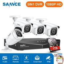 SANNCE 4CH 1080P HD CCTV 시스템 1080N HDMI 비디오 레코더 DVR 키트 2MP CCTV 보안 카메라 IR 야외 감시 키트 화이트