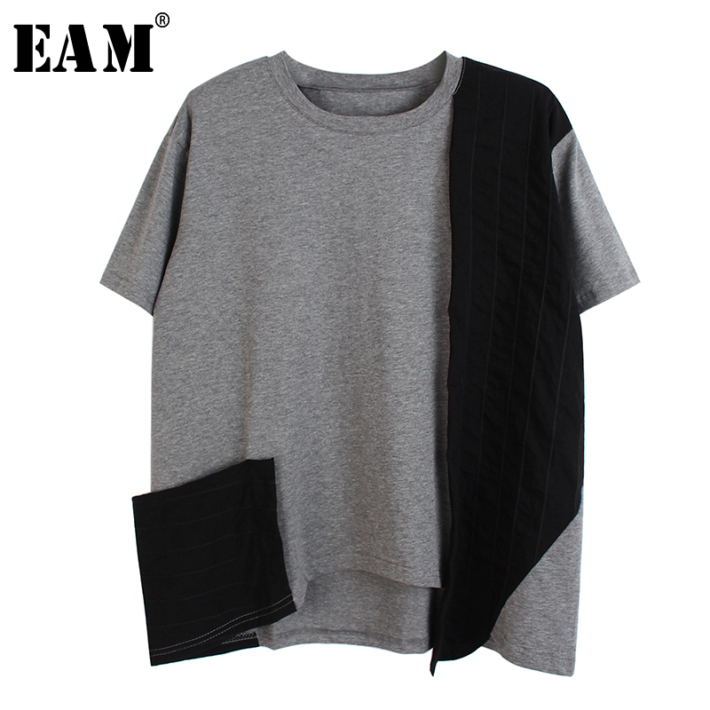 [EAM] Women Contrast Color Split Joint Striped Big Size T-shirt New Round Neck Short Sleeve Fashion Spring Summer 2020 1S601