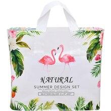 Plastic Bags Gift Custom-Logo Packaging Flamingo-Clothing 10pcs/Lot Thickened Women's