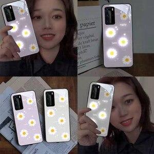 Image 2 - Purple Daisy LED Glow Phone Case for Huawei P20 P30 P40 Pro Mate 20 30 40 Plus Nova 6 5G Honor 20 pro Luminous Glasses Cover