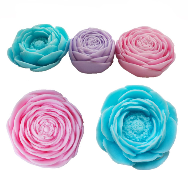 3kinds Flower Shape Soap Mold Rose Flower Soap Mold Peony Flower Silicone Mold