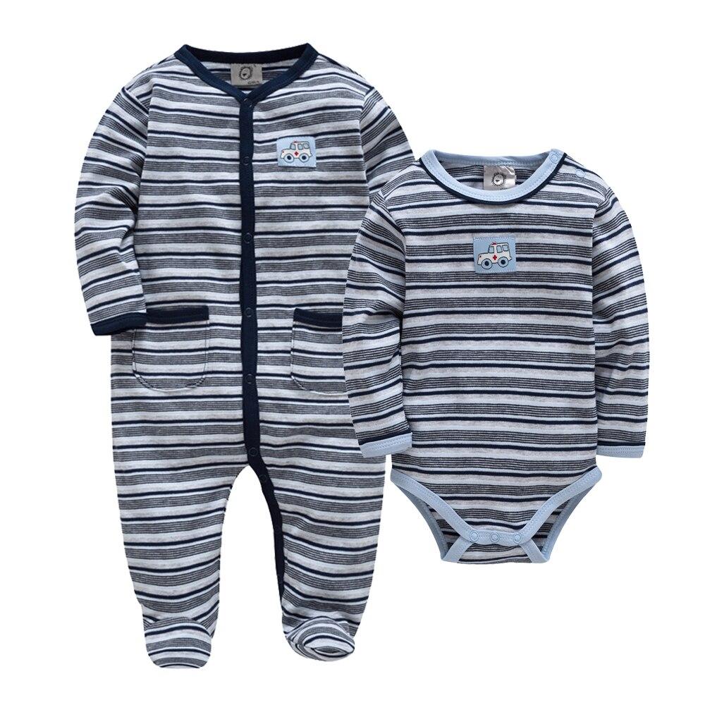 New Brand Fall Winter Newborn Baby Clothes Cotton Striped Cartoon Print Baby Boy Jumpsuit Long Sleeve ropa de bebe Clothing Set