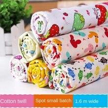 Tela de sarga de algodón con estampado Floral Pastoral para niños, 100% de tela de algodón con dibujos animados para vestido, costura de brocado de lentejuelas