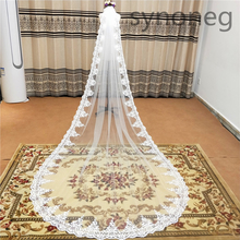 Veu de noiva longo Lace Appliques One Layers 3M 4M 5MLong Veils Wedding Veils  With Comb Wedding Accessories Bridal Veils