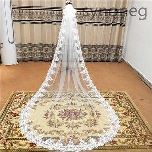 Image 1 - Veu de noiva longo dantel aplikler bir katmanlar 3M 4M 5MLong Veils düğün Veils tarak düğün aksesuarları gelin Veils