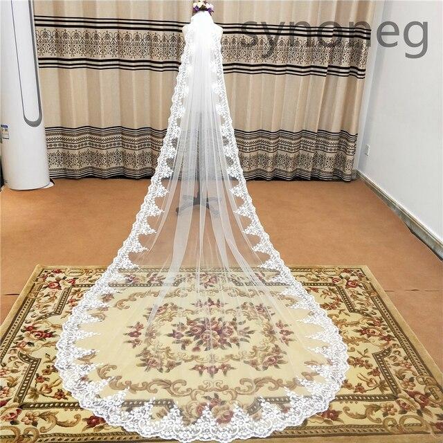 Veu de noiva longo dantel aplikler bir katmanlar 3M 4M 5MLong Veils düğün Veils tarak düğün aksesuarları gelin Veils