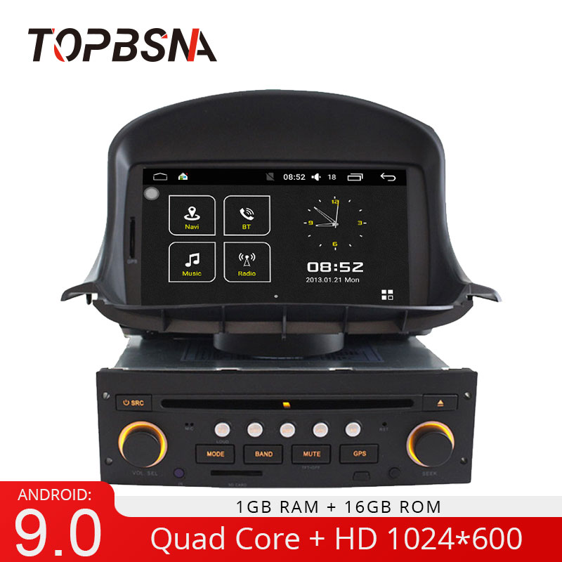 TOPBSNA Android 9.0 1 <font><b>Din</b></font> Car DVD Player For <font><b>Peugeot</b></font> <font><b>206</b></font> 206CC 2007-2014 GPS Navi Car Radio Multimedia WIFI Stereo Headunit RDS image