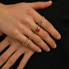 8Pcs/Set Bohemia Rose Flower Rings Set for Female 2020 Vintage Geometric Floral Knuckle Rings Charm Jewelry Gift faux ruby geometric flower jewelry set