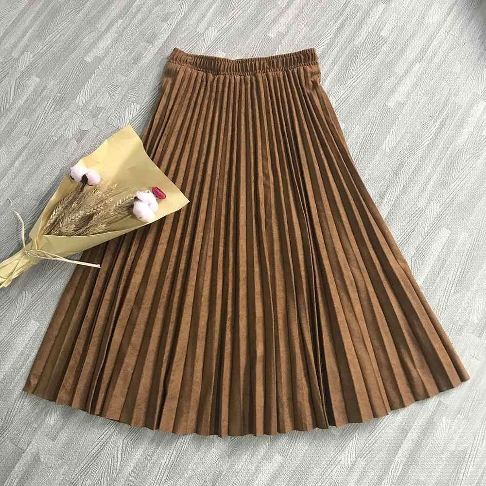 2020 二層春の女性はスカートロングプリーツスカートトップブランドレディース saias ミディ段 faldas ヴィンテージ女性のミディスカート