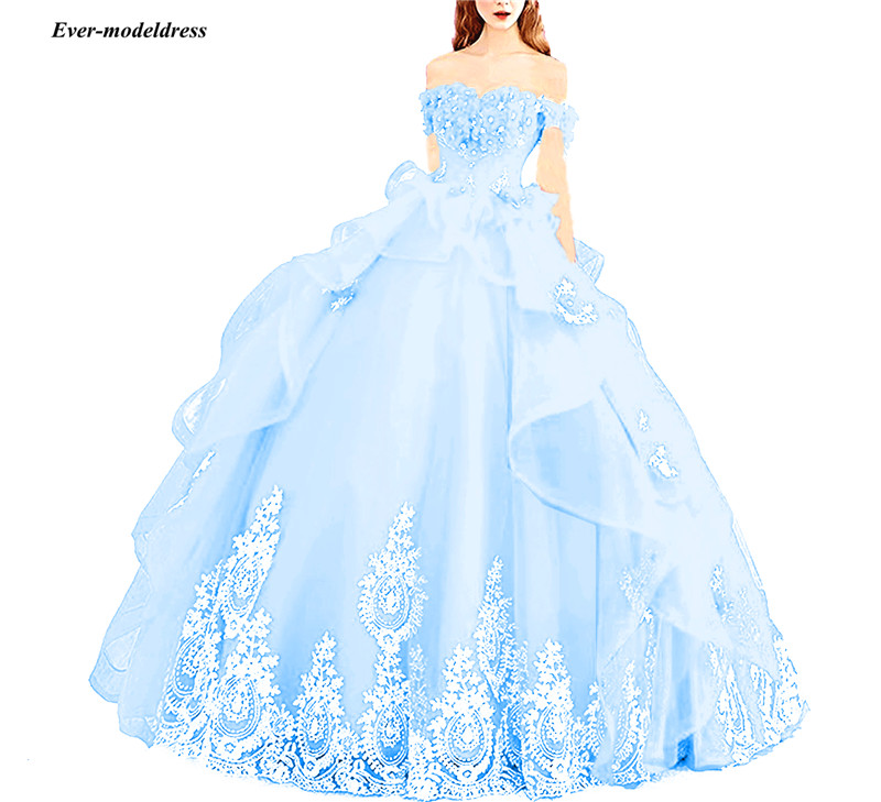 New Princess Off The Shoulder Ball Gown Quinceanera Dresses Appliques Beaded Corset Back Sweet 16 Dresses Vestidos De 15 Años