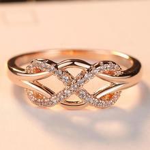 Ramos Neue Zirkonia Kristall Infinite Ringe Für Frauen Modus-Design-Erklärung Rose Gold Farbe Ring Hochzeit Schmuck