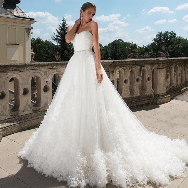 クリスタルウエストプリーツ花王女のウェディングドレスプラスサイズ vestido デ casamento 恋人ネック背中ホワイトブライダルドレス