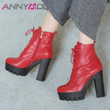 ANNYMOLI Fall Ankle Boots Women Natural Genuine Leather Platform Thick Heels Short Boots Zip Extreme High Heel Shoes Lady Winter цена