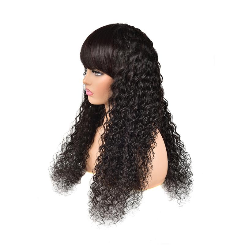 polegada Cor Natural Remy Humano peruca de cabelo Com Franja