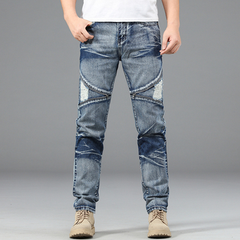 Jeans Men Straight Trousers Male High Quality Soft Slim Fit Ripped Denim Designer Casual Biker Pants Pantalon Hombre Homme